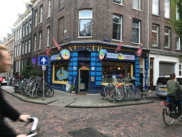 Bikes in front of a coffeeshop