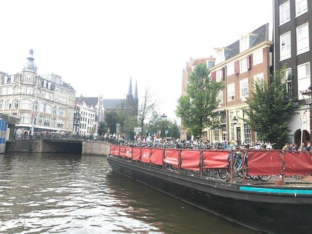 Bikes parked on a bike boat - Bikes Amsterdam