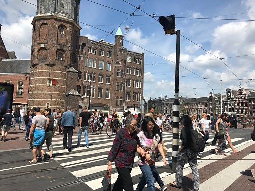 Going Dutch - Cyclists often take priority over pedestrians in Amsterdam