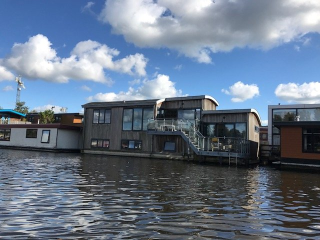An actual house as houseboat