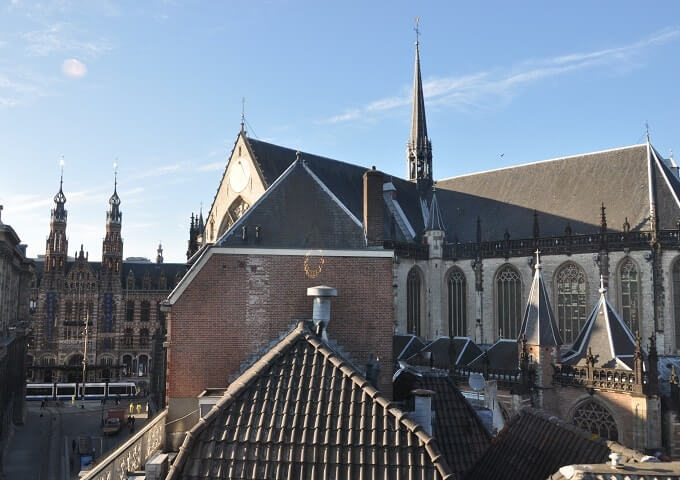 View from H&M on the New Church and Amsterdam's former Main Post Office