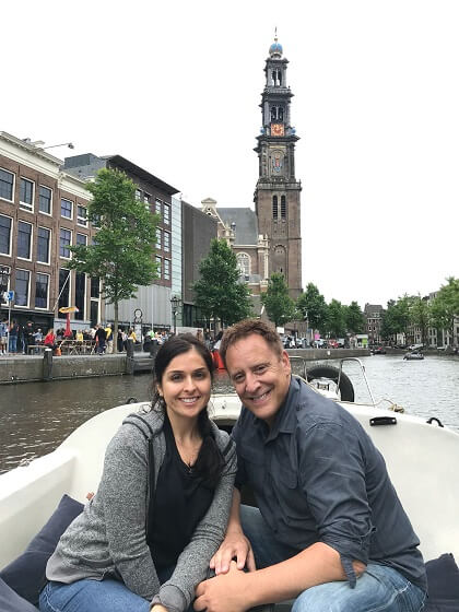 Nick & Lorena in front of the Wester Tower on the boat